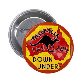 Tierra del mapa de Australia abajo debajo con el Pin Redondo De 2 Pulgadas