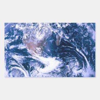 Tierra del mármol del azul del espacio pegatina rectangular