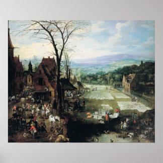 Tierra del mercado y del blanqueo, 1620-22 póster