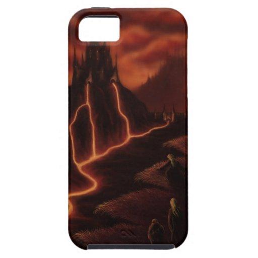 tierra del paisaje de la fantasía del fuego iPhone 5 protector