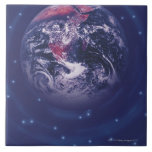 Tierra del planeta azulejo cuadrado grande