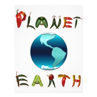 Tierra del planeta con pimientas de chile tarjetón