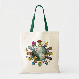 Tierra del planeta del amor: Una para la paz Bolsas Lienzo