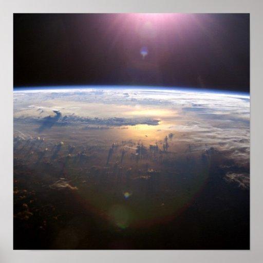 Tierra del planeta del espacio poster