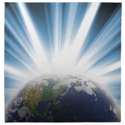 Tierra del planeta del espacio servilleta