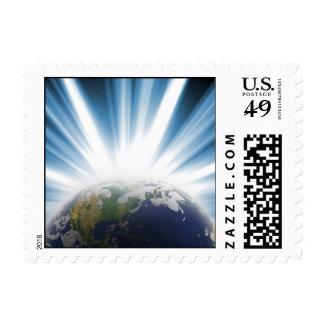 Tierra del planeta del espacio timbre postal