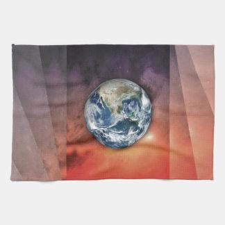 Tierra del planeta en espacio toallas