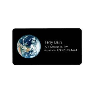 Tierra del planeta etiquetas de dirección