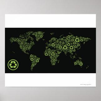 Tierra del planeta integrada por el reciclaje de s poster