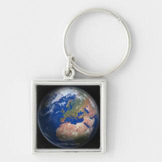 Tierra del planeta llavero cuadrado plateado