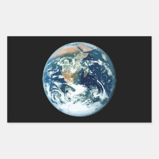 Tierra del planeta pegatina rectangular