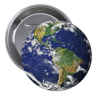 Tierra del planeta pin redondo de 3 pulgadas
