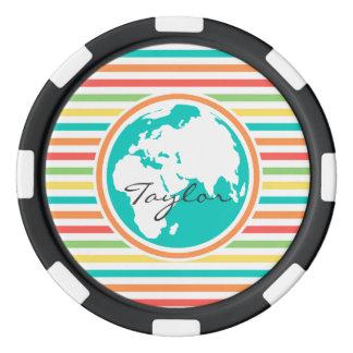 Tierra del planeta, rayas brillantes del arco iris fichas de póquer