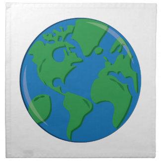 Tierra del planeta servilleta