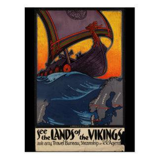 Tierra del poster del viaje del vintage de los tarjeta postal