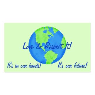 Tierra del respecto del amor, sus nuestras tarjetas de visita