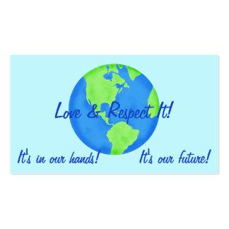 Tierra del respecto del amor, sus nuestras tarjeta de visita