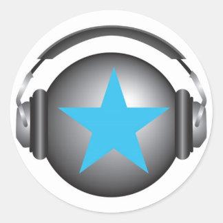 tierra del ricorox de DJ con los auriculares Pegatina Redonda