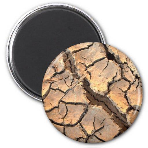 tierra del suelo seco/de la grieta imán redondo 5 cm