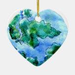 Tierra dibujada mano 2 adorno navideño de cerámica en forma de corazón