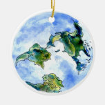Tierra dibujada mano adorno navideño redondo de cerámica