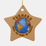 Tierra divertida de Woodturning del globo de los t Ornamento De Navidad