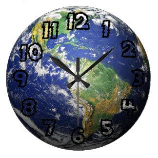 Tierra - efecto 3D Reloj Redondo Grande