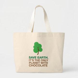 Tierra, el único planeta con el chocolate bolsa tela grande