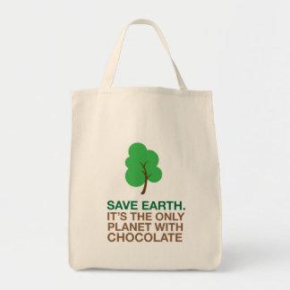 Tierra, el único planeta con el chocolate bolsa tela para la compra