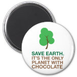 Tierra, el único planeta con el chocolate imán redondo 5 cm