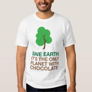 Tierra, el único planeta con el chocolate playeras