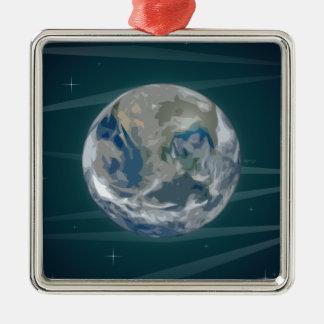 Tierra en espacio adorno navideño cuadrado de metal