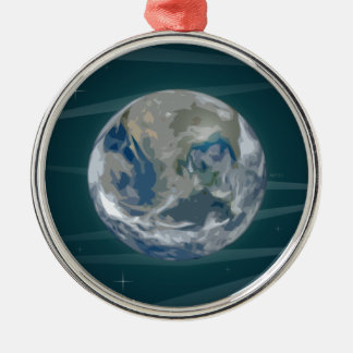 Tierra en espacio adorno navideño redondo de metal