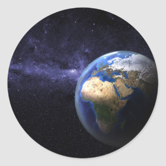 Tierra en espacio pegatina redonda