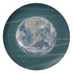 Tierra en espacio platos para fiestas