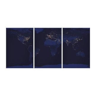 Tierra en la noche impresión en lienzo estirada