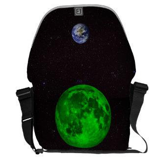 Tierra esmeralda de la luna y del planeta bolsa de mensajeria