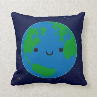 Tierra feliz del planeta cojín decorativo