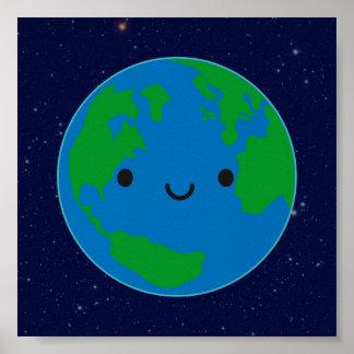 Tierra feliz del planeta póster