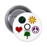 Tierra, flor, paz, árbol, amor, botón de Obama Pins
