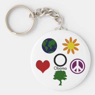 Tierra, flor, paz, árbol, amor, llavero de Obama