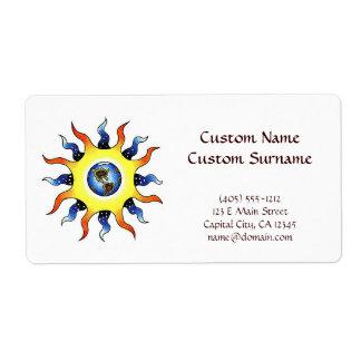 Tierra fresca Sun del símbolo del tatuaje del Etiquetas De Envío