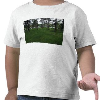 Tierra herbosa con los árboles y agua camiseta