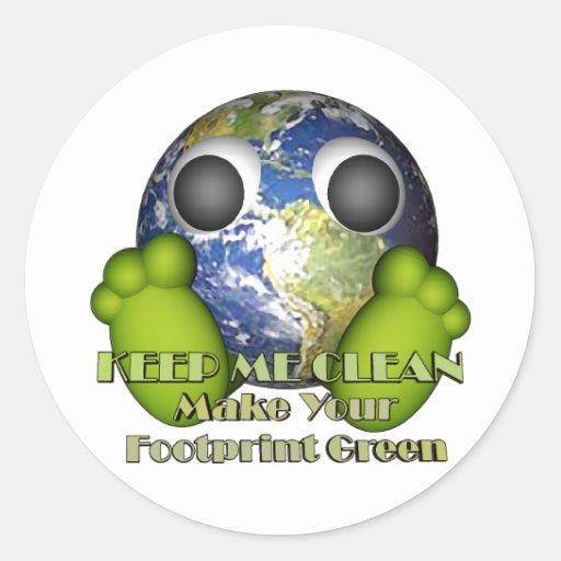 Tierra limpia de la tierra verde pegatina redonda