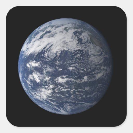 Tierra llena centrada sobre el Océano Pacífico Pegatina Cuadrada