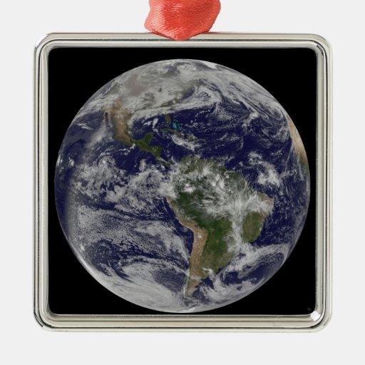 Tierra llena que muestra Norteamérica y Amer del Adorno Navideño Cuadrado De Metal