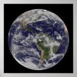 Tierra llena que muestra Norteamérica y Amer del Póster