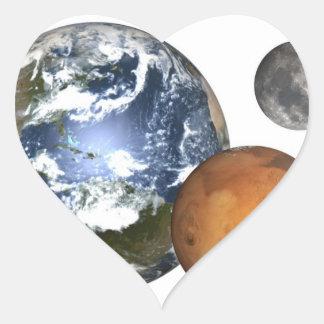 Tierra, Marte, pegatinas del corazón de la luna Pegatina En Forma De Corazón