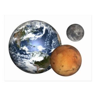 Tierra Marte y luna Tarjetas Postales