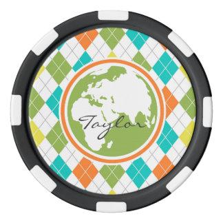 Tierra; Modelo colorido de Argyle Juego De Fichas De Póquer